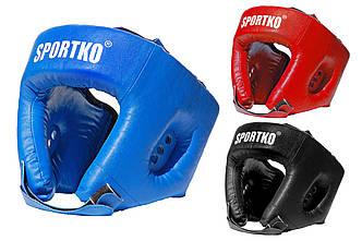 Защитная экипировка боксера. Шлем боксерский открытый (кожвинил).