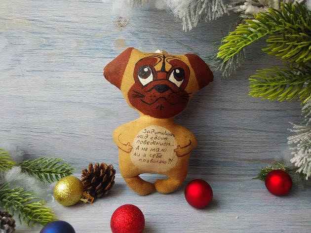 Кофейная игрушка собака мопс, фото 2
