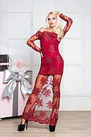 Платье в пол бордо с кружевом