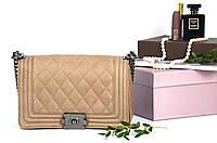 Сумка-клатч Chanel с металлическим замком Taup