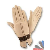 Женские перчатки из натуральной кожи на шерстяной подкладке модель 407.