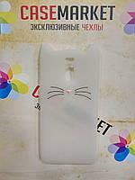 Объемный 3D силиконовый чехол для Meizu M6 Note Кот усатый белый