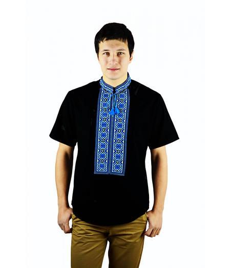 Чорна сорочка вишита хрестиком Ромби   продажа 798011e09e1d6