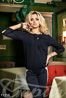 Темно-синяя блуза с рукавом-фонариком Gepur 11259