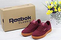 Кроссовки  Reebok Workout Classica женские (бордовые), ТОП-реплика, фото 1