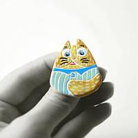 Брошь керамическая авторский дизайн ручная роспись кот матроскин