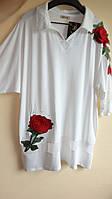 Турецкая блуза Роза 60-64рр белая Luizza (Турция)