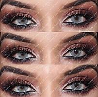 """Цветные линзы серые, модель """"Айс грей"""" на тёмных глазах"""