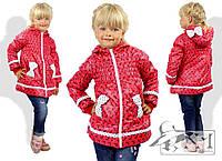Детская модная куртка с бантиками на карманах и капюшоне
