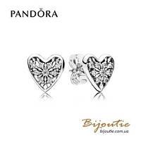 Серьги Pandora СЕРДЦЕ ЗИМЫ #296368CZ серебро 925 Пандора оригинал