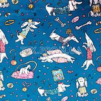 Трикотажное полотно интерлок хб пенье 40/1 напечатанное цветное, детский рисунок, веселые собачки таксы