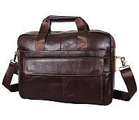 Элегантная мужская кожаная сумка для ноутбука коричневая