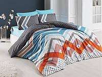 Комплект постельного белья ранфорс евро размер Cottonlan KERRY MAVI