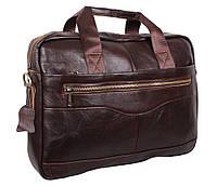 Мужская кожаная сумка-портфель для ноутбука коричневая