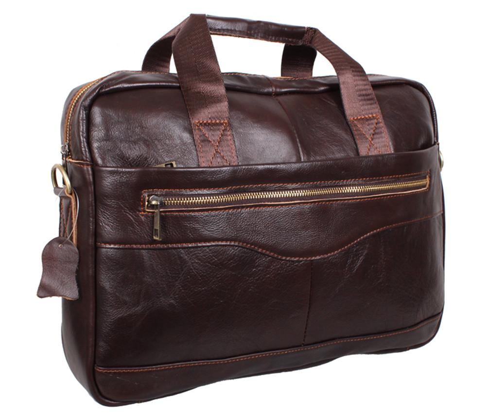 Практичная мужская кожаная сумка для ноутбука коричневая