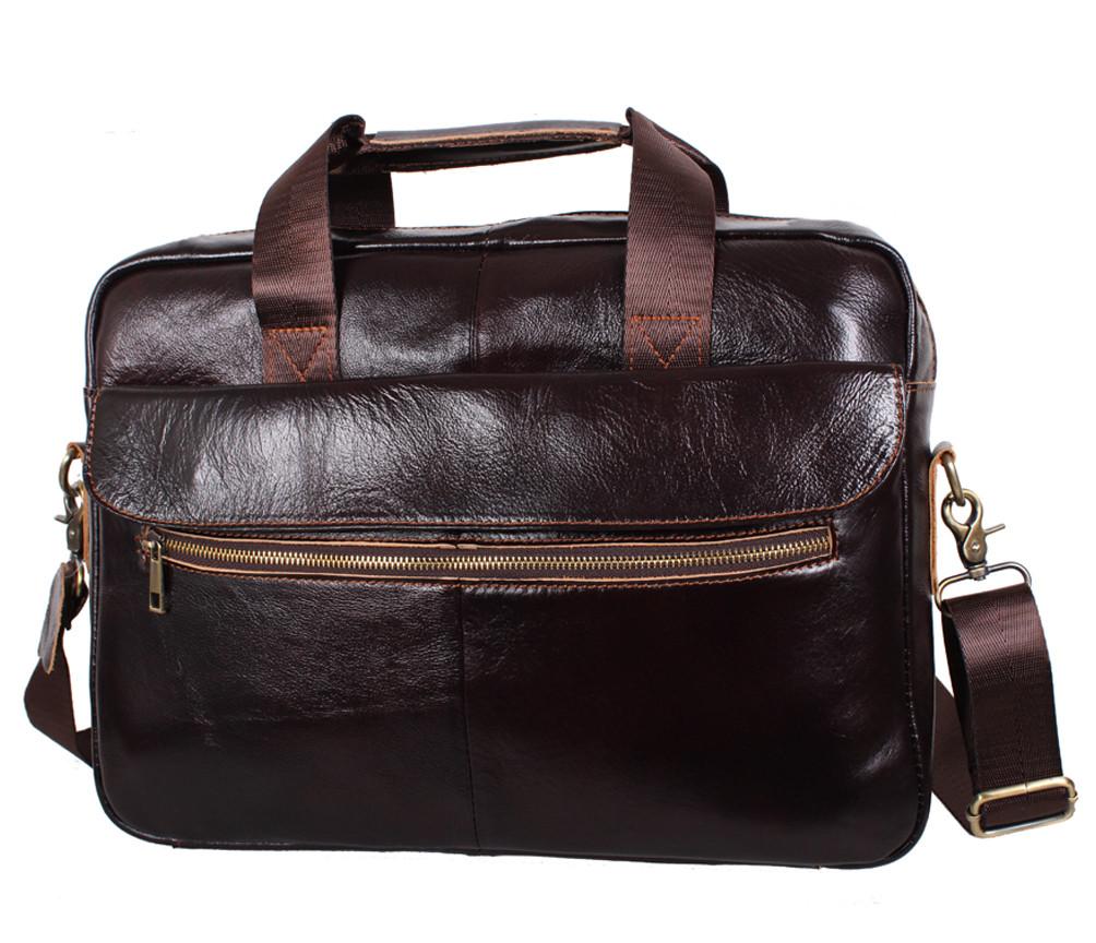 Стильная мужская кожаная сумка для ноутбука коричневая RT-1191-2BR