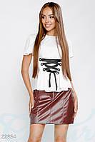 Кожаная юбка-трапеция Gepur 22854