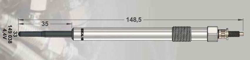 RESCAL 149038 Свічка підігріву 4.4 V FORD TRANSIT V347