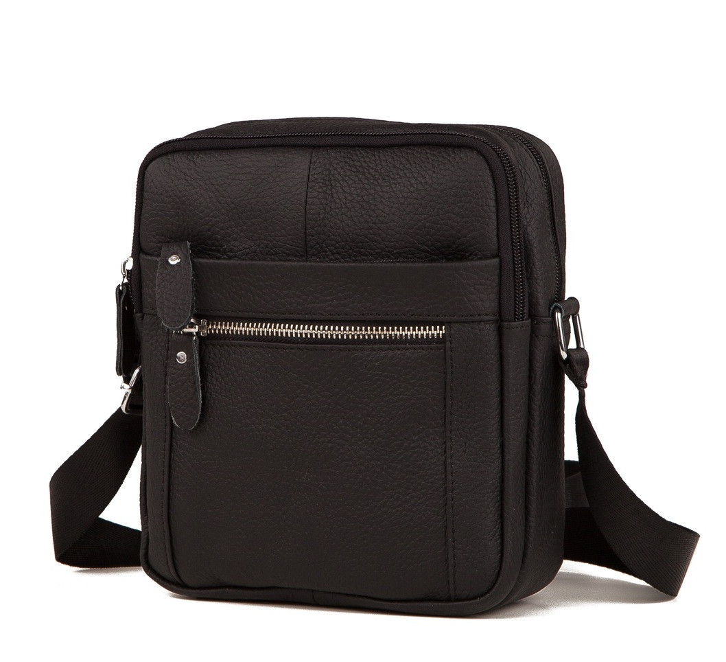 Небольшая мужская кожаная сумка черная RT-3922-1BL