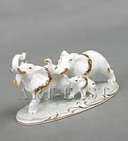 ВИТРИННАЯ со сколами! Статуэтка фарфоровая Три слоника 22 см XA-06