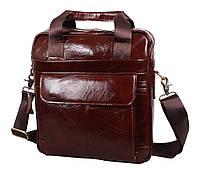 Мужская кожаная сумка-барсетка большая коричневая TB (00390)