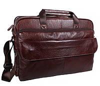 """Добротная мужская кожаная сумка для ноутбука 17"""" коричневая RT-8142-2BR"""