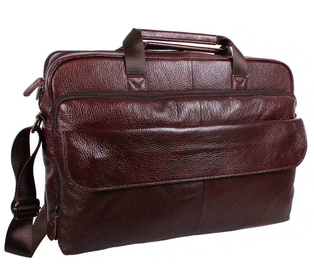Добротная мужская кожаная сумка для ноутбука 17