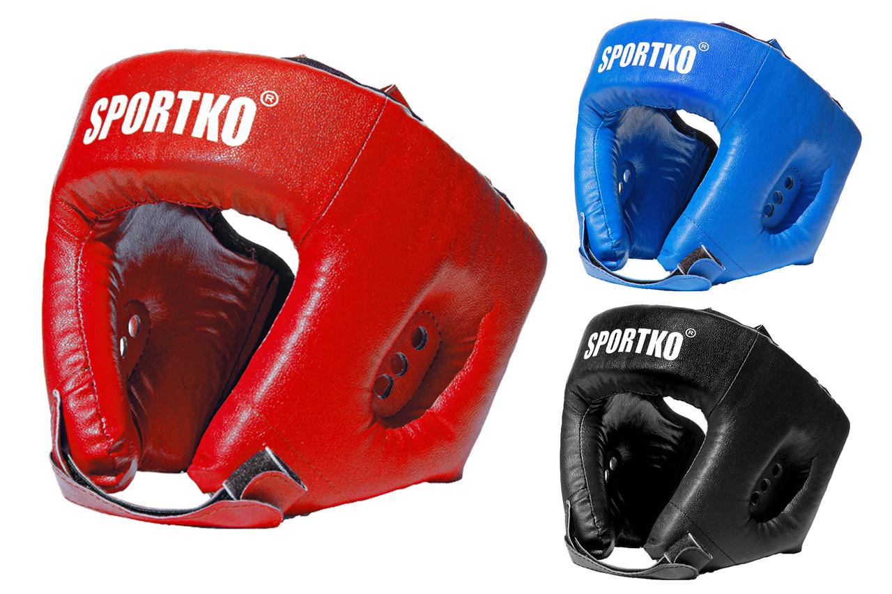 Открытый кожаный боксерский шлем.(натуральная кожа).