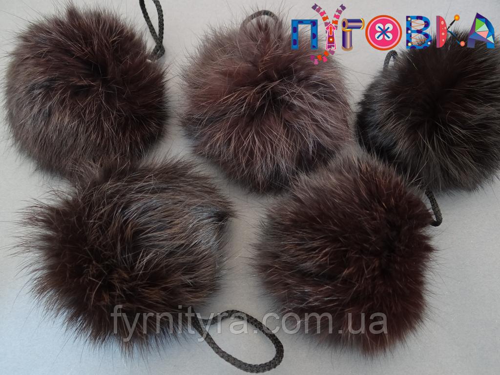 Помпоны-мех, балабон, бубон шоколад 7-9см кролик