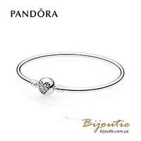 Pandora браслет жесткий СЕРДЦЕ ЗИМЫ #596404CZ серебро 925 Пандора оригинал
