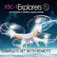 Доп. аккумулятор в подарок квадрокоптер дрон среднего размера с HD камерой X5C-1