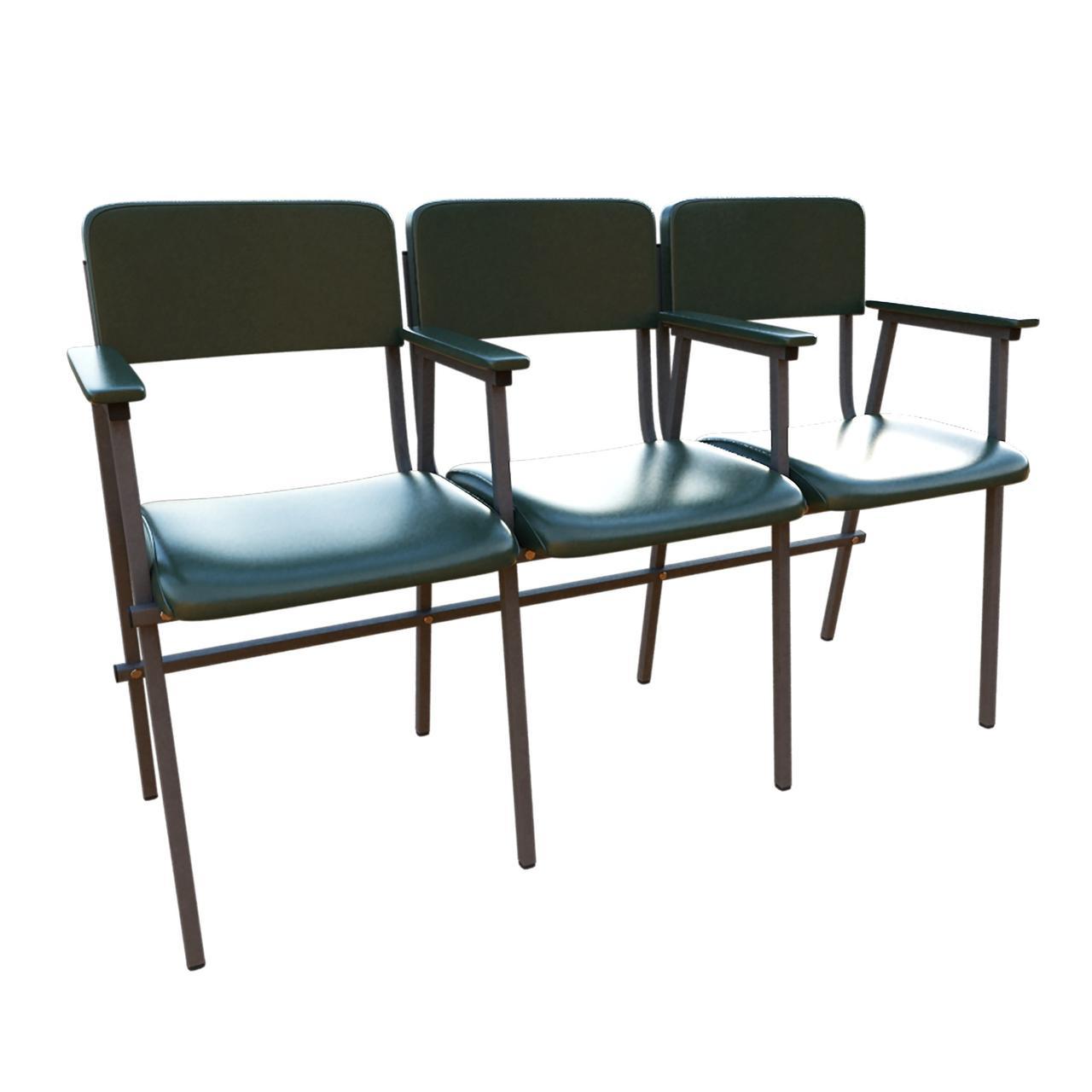 Стулья секционные для актовых залов и зон ожидания ТРИО АЛИСА с подлокотниками