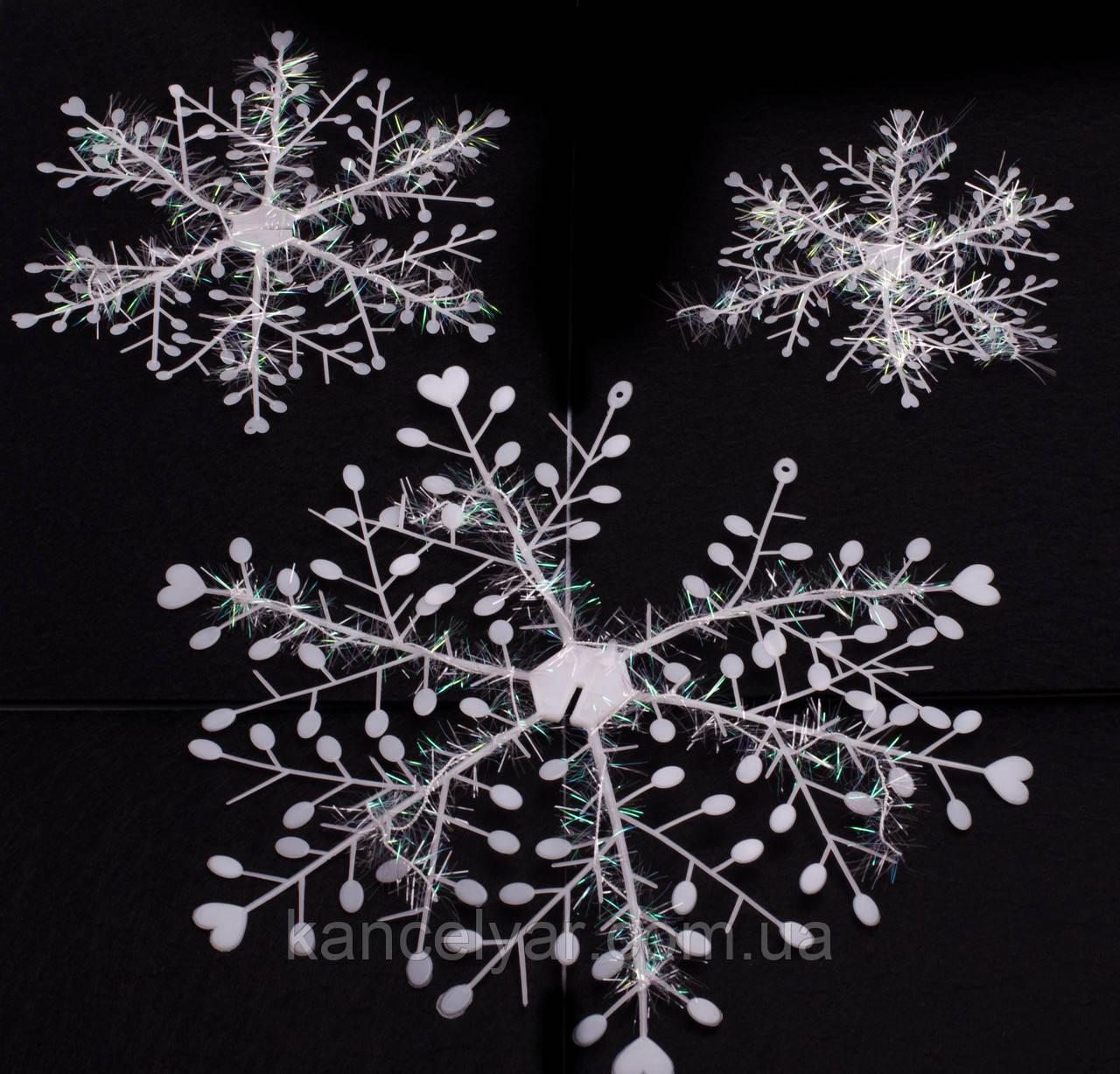 Снежинки: 2 шт. х 15 см, 2 шт. х 20 см, 2 шт. х 30 см