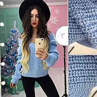 Модный свитер с большим вырезом в расцветках АМС-1712.150(2)