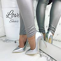 Женские серебристые туфли лодочки на высоком каблуке, Польша