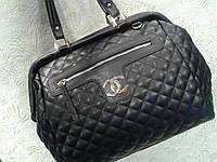 Женская сумка-саквояж черная,стильная стеганная (Турция)