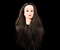 Учебная голова 30% натуральных волос, длина 65-70 см, коричневая , фото 1