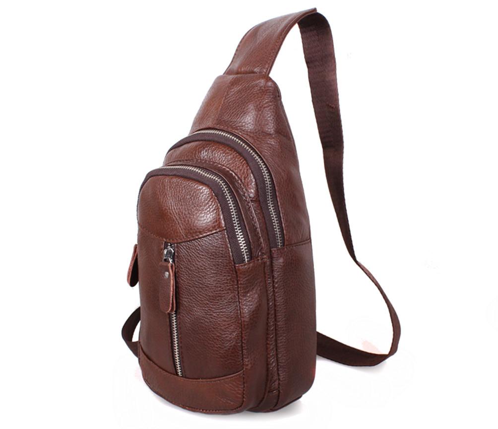 Наплечная мужская кожаная сумка коричневая RT-318-1BL
