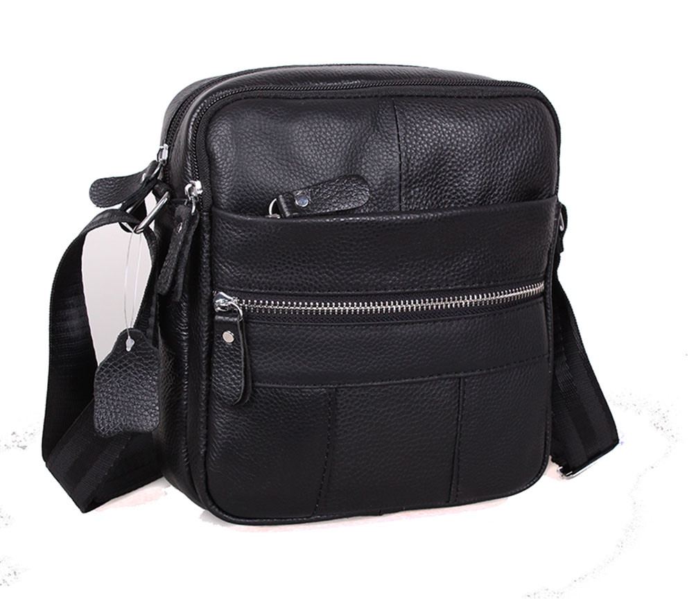 dd0be085e5bb Удобная мужская кожаная сумка через плечо черная RT-1020-1BL (18х21х7.