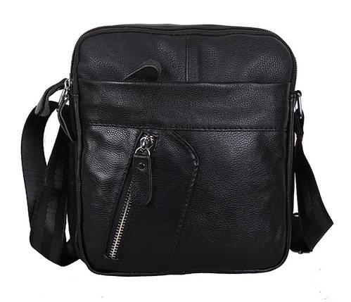 e24b90c8349b Повседневная мужская кожаная сумка через плечо черная RT-1028-1BL  (18.5х20х9 см