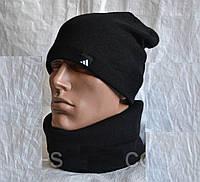 Чёрный комплект шапка +шарф труба-бафф разные цвета