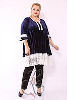 Нарядное женское платье - туника с  контрастным гипюром и кружевом, Турция  52- 62 рр