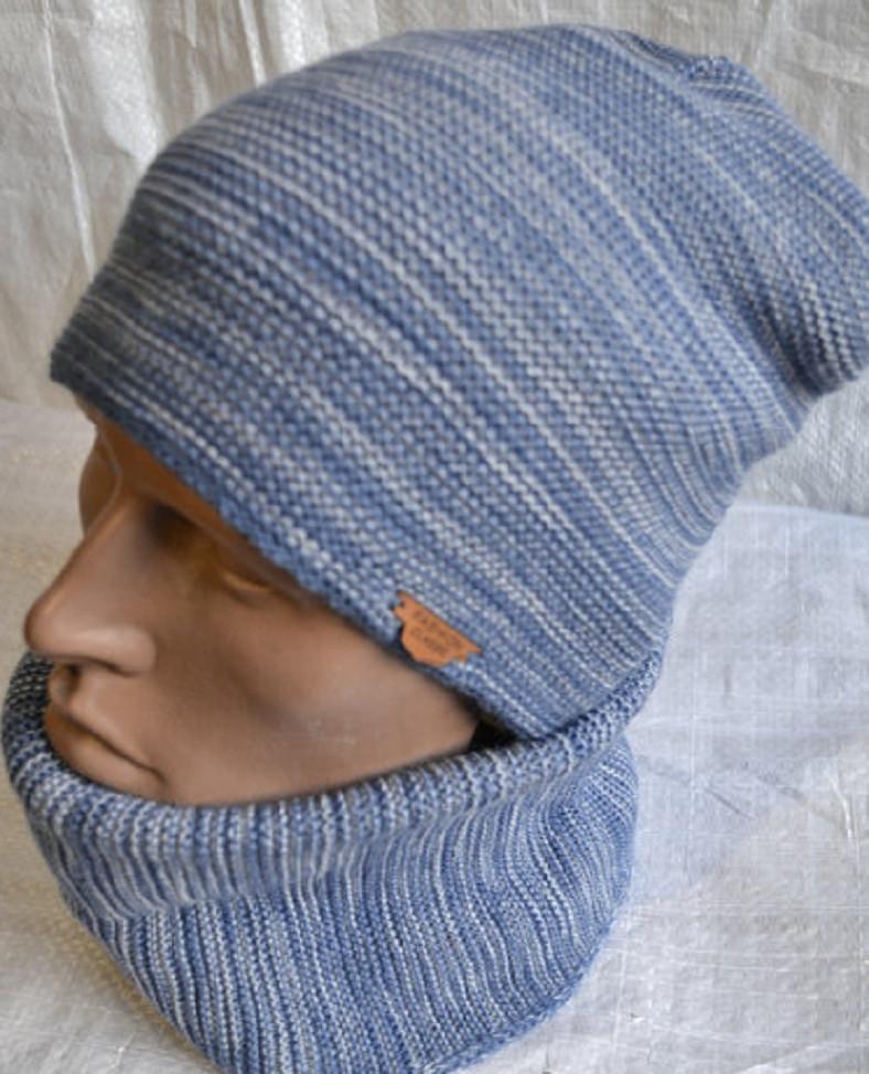 Комплект шапка +шарф труба-бафф меланжевый