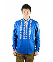 Вышиванка синяя мужская на льне, белая вышивка