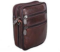 Компактная мужская кожаная сумка на пояс и через плечо RT-9950-1BR