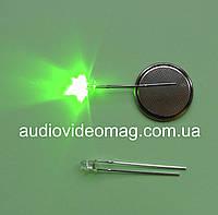 Светодиод 3V 3 мм мигающий, цвет зеленый