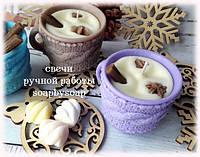 """Свеча """"Вязанная чашка с маршмелоу"""", фото 1"""