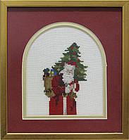 Вышитая картина - винтажный Дед Мороз с елкой