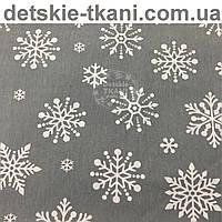 "Новогодняя ткань ""Снежинки-бусинки"" серого цвета"