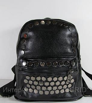 Стильный рюкзак черного цвета из кожзама  01